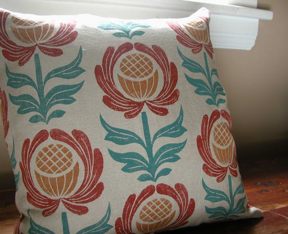 Folk Art Floral Home Decor hand block printed colorful decorative warm gray linen pillow cover