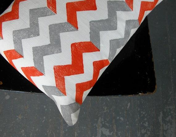 Tangerine and gray chevron hand block printed white linen decorative home decor colorful pillow case