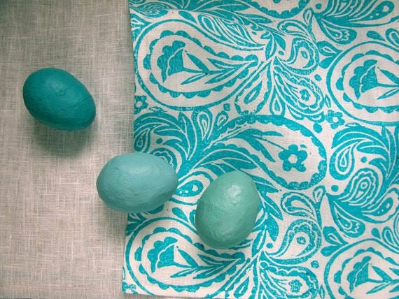 everyday turquoise paisley on white linen napkins set of 4