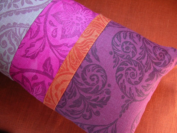 Fuchsia and Tangerine Patchwork Tropical Hand Printed Linen Pillow