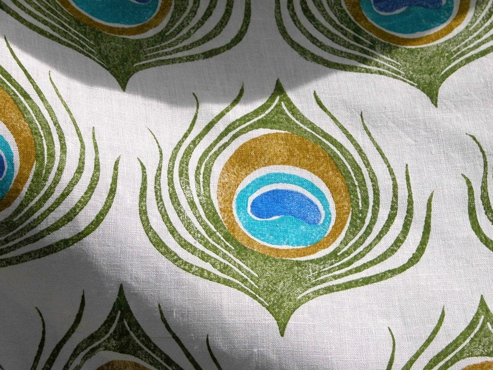 Peacock Feather Fabric By The Yard By Giardino On Etsy