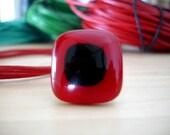 Red and Black glass and pure sterling silver ring - Rojo\/Negro Anillo de vidrio y plata