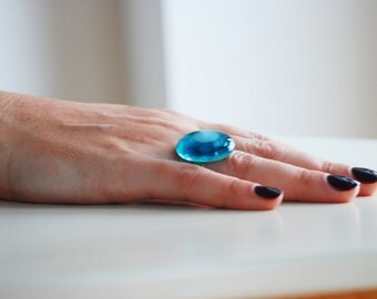 Translucent Turquoise GLASS AND SILVER POP RING