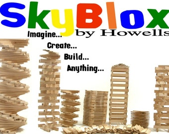 70 Solid Wood Building Blocks - SkyBlox - Handmade natural poplar wood