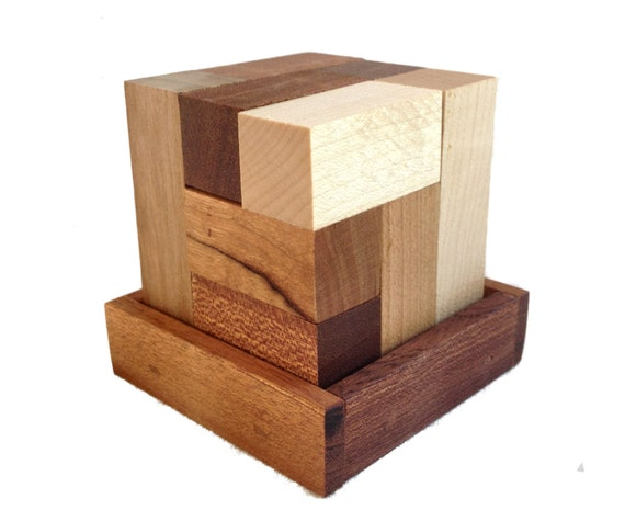 Wood Cube Puzzle - Solid Reclaimed Cherry, Maple and Walnut Wood - 7 wood pieces - Unlimited entertainment - Logic Puzzle