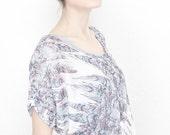KANARO 2012 Side Drape T shirt / Feather print