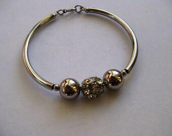 1970 Disco Ball Silver Rhinestone Bracelet