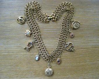 Vintage Charm Necklace Designer Goldette
