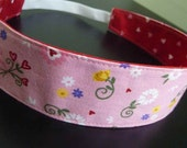 Child's Reversible Fabric Headband - Pink with Hearts and Flowers