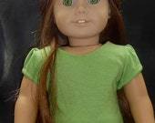 Green Cotton Tee with Banded Sleeve for American Girl Doll - Liberty Jane Pattern