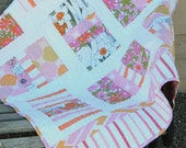 Baby girl quilt - Handmade patchwork pink, orange, white vintage sheets