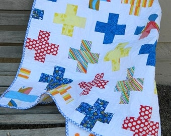 Handmade patchwork baby quilt - yellow, red, blue, orange vintage sheets