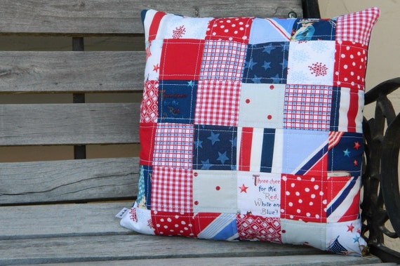Handmade quilted pillow cover -  patriotic patchwork