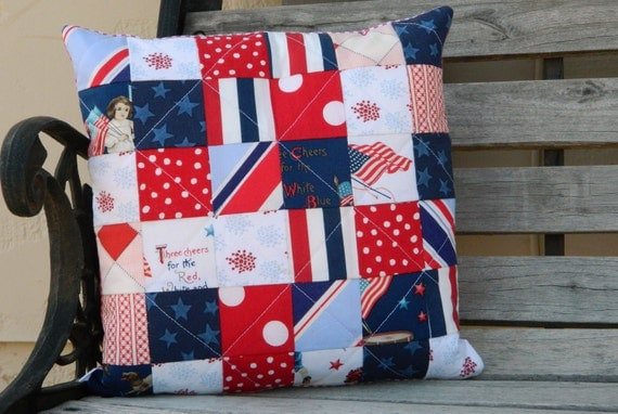 Handmade quilted pillow cover -  patchwork patriotic