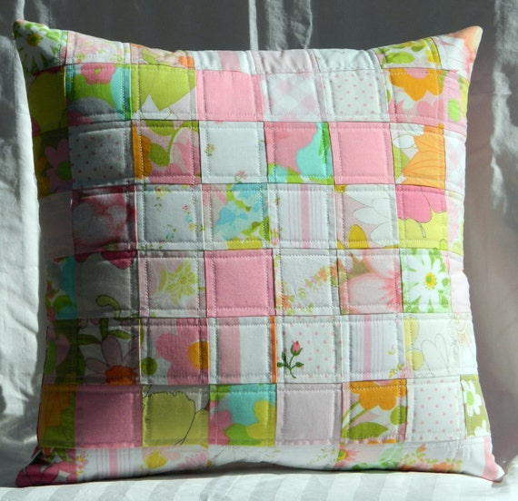 Handmade quilted pillow cover - pink patchwork vintage sheets