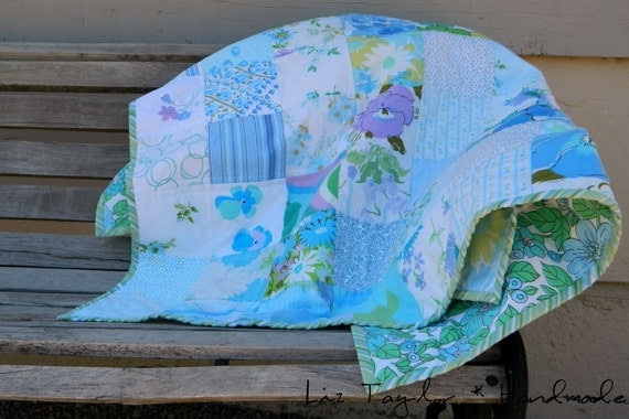 Handmade patchwork baby quilt - blue, purple, green  vintage sheets