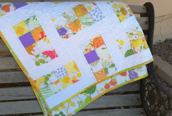 Handmade patchwork baby quilt - yellow, red, purple, green vintage sheets