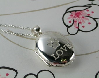 Sterling Silver Locket - Love My Paw - with optional ENGRAVING ON the BACK