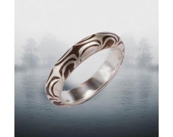 Mokume Gane Ring  Twisting Tide Round 5 mm