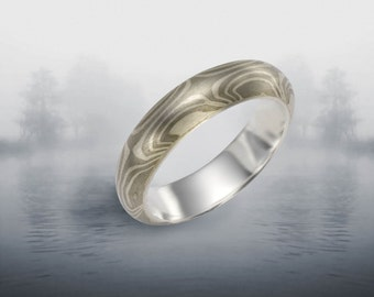 Soaring Star 5-6mm Mokume Gane Rings