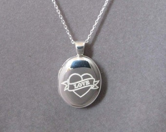 """LOVE Sterling Silver Locket with 18"""" SS Chain"""