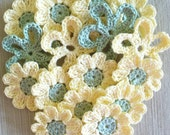 Crochet flower appliques, embellishments -  maize yellow, frosty green - set of 16