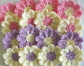 Crochet Daisy Flowers for Scrapbooking - set of 16, handmade, violet, pink, cream
