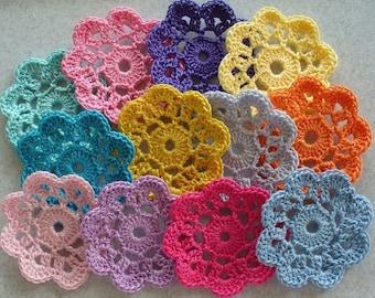 Crochet  Mini Doilies, Embellishments, Appliques, Motifs - variety pack of 12
