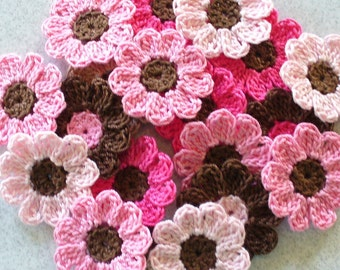 Pink and Brown Crochet  Flowers, Appliques, Embellishments - Craft Supplies - set of 21