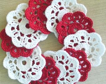 Crochet Mini Doily Appliques,  Red, White,  Handmade - set of 12