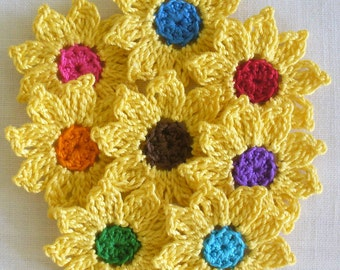 16 Yellow Crochet Daisies, Flowers, Small Handmade Appliques, Embellishments