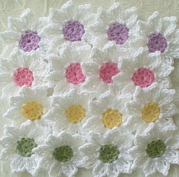 Fresh as a Daisy  - Crochet Flowers,  Appliques  - set of 16