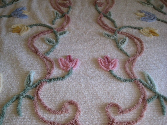 Vintage Chenille Bedspread Cotton Pastel Floral Bedding REDUCED