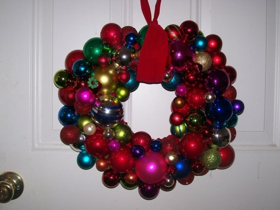 Multi Colored Christmas Ornament Wreath