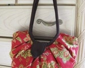 Large red floral canvas pleated hobo bag