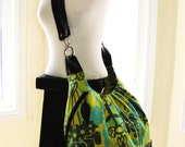 Clearance Sale -  Extra large messenger bag with stylish pleated adjustable backpack shoulder bag green yellow prints with leather