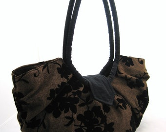 Large brown floral purse, pleated hobo bag, stylish and classic purse - Java black floral