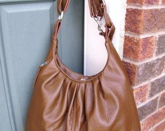 Large tan Leather bag, Convertible backpack purse, Pleated shoulder bag, Leather messenger - Oak Tan