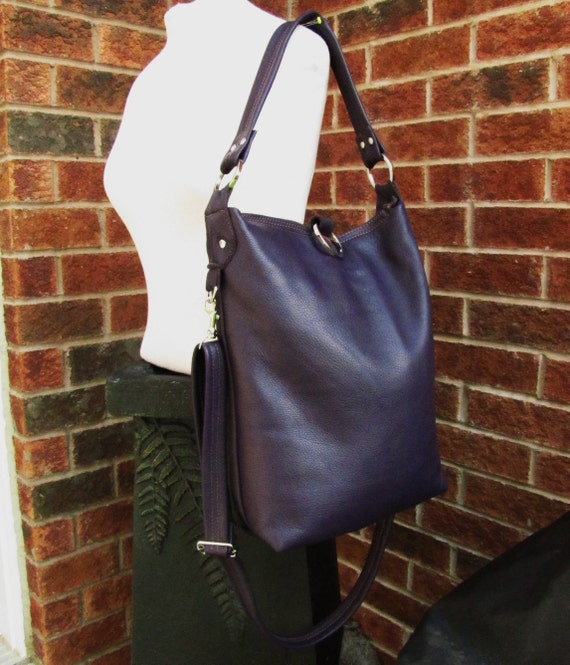 Reserved of Amy - Deposite for Purple Leather bag, purple tote bag, leather purse, fold over leather bag - Eggplants