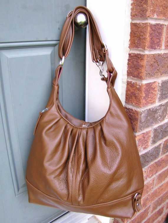 Large tan Leather bag, Convertible backpack purse, Pleated shoulder bag, Leather messenger - Oak Tan
