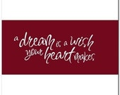 A dream is a wish your heart makes - Vinyl Wall Lettering Words Decal