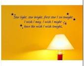 Star Light Star Bright -  Vinyl Wall Lettering Decor