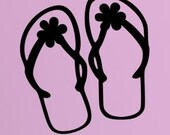 Flip Flops with Flowers - Vinyl Wall Lettering Words Decor Art Decal
