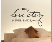 A TRUE LOVE STORY - Vinyl Wall Lettering Words Decor Art Decal