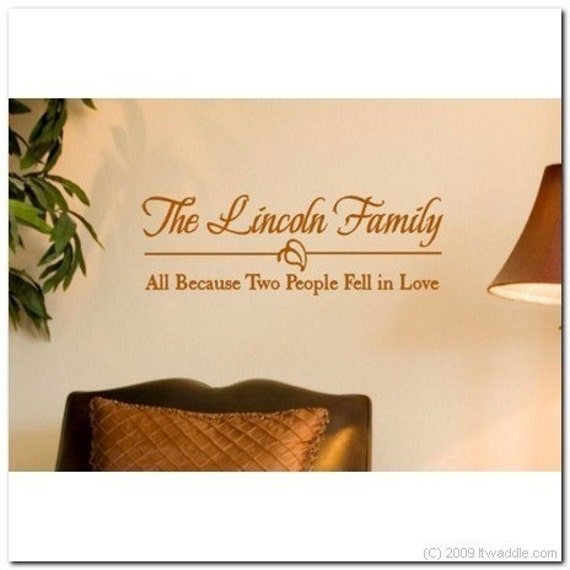 Family Monogram - All Because Two People - Vinyl Wall Lettering