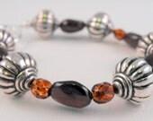 Dark Garnet  and Silver Gemstone Bracelet, Gift for Her, Under 25