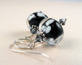 Clearance - Black and White Dots Lampwork Glass Sterling Silver Earrings
