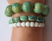 Sea Green and White Beaded Bracelet Trio