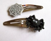 Spider and Web Halloween Girls Hair Clips