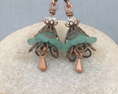 LAVINIA ... vintage style earrings ... with crystal, copper filligree, and lucite flower beads